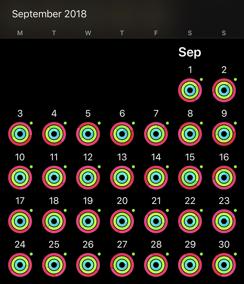 Apple Watch September 2018 Perfect Month