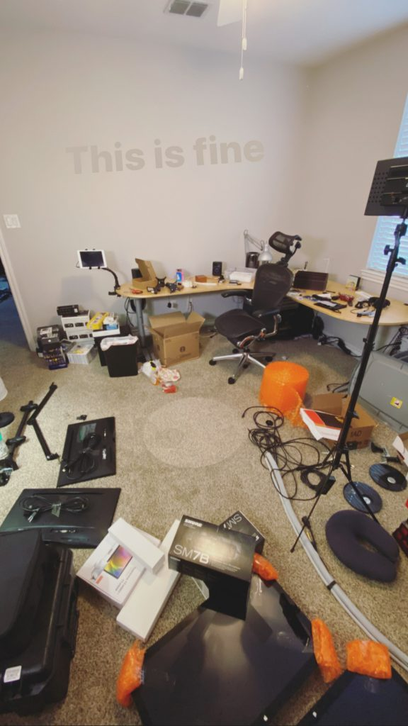 "Messy office - ""This is fine."""